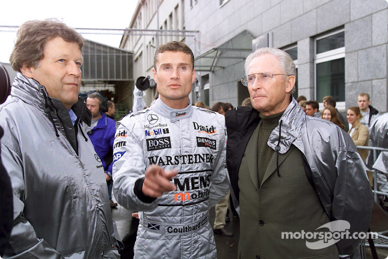 Norbert Haug, Vice President Mercedes-Benz Motorsport; David Coulthard, West McLaren Mercedes; Prof. Jürgen Hubbert, member of the board of DaimlerChrysler AG