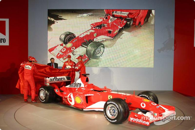 Jean Todt, Felipe Massa, Luca Badoer, Michael Schumacher and Rubens Barrichello unveil the new Ferrari F2003-GA