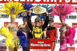Race winner Matt Kenseth celebrates in charming company