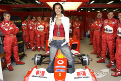 Supermodel Megan Gale with Team Ferrari