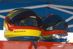 Timo Bernhard and Lucas Luhr's helmets