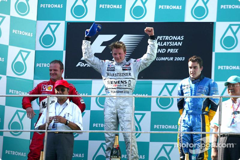 2003 : 1. Kimi Räikkönen, 2. Rubens Barrichello, 3. Fernando Alonso