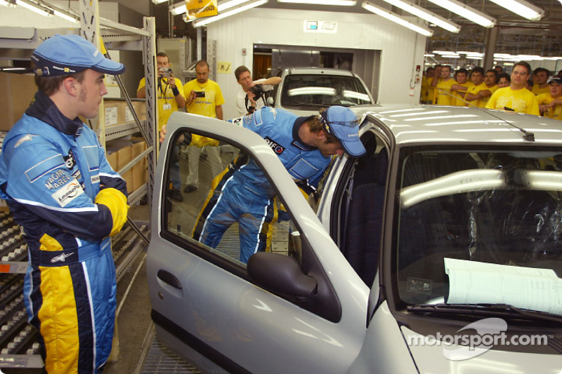 Visit of the Ayrton Senna Renault Factory in Curitiba: Fernando Alonso and Jarno Trulli
