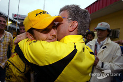 Giancarlo Fisichella and Eddie Jordan celebrate second place finish