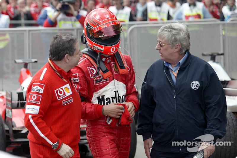 Jean Todt, Michael Schumacher and FIA's Herbie Blash