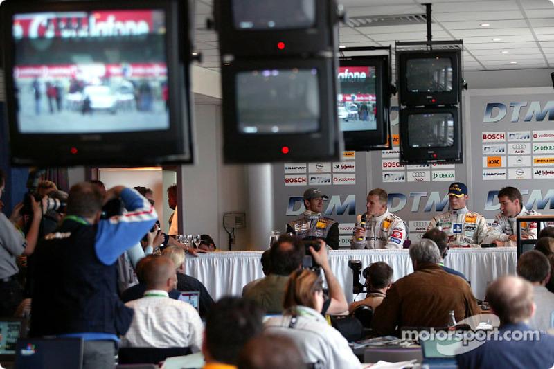 Press conference: Alain Menu, Marcel Fassler, Mattias Ekström and pole winner Bernd Schneider