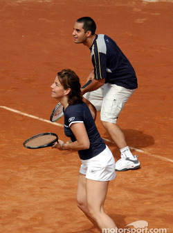 Charity tennis tournament at the Sanchez-Casal Academy in Barcelona: Arantxa Sanchez and Juan Pablo Montoya
