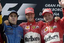Podium : le vainqueur Michael Schumacher avec Fernando Alonso et Rubens Barrichello