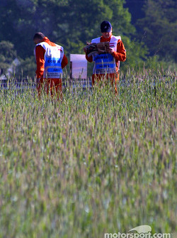 Course marshalls wait for the session to start