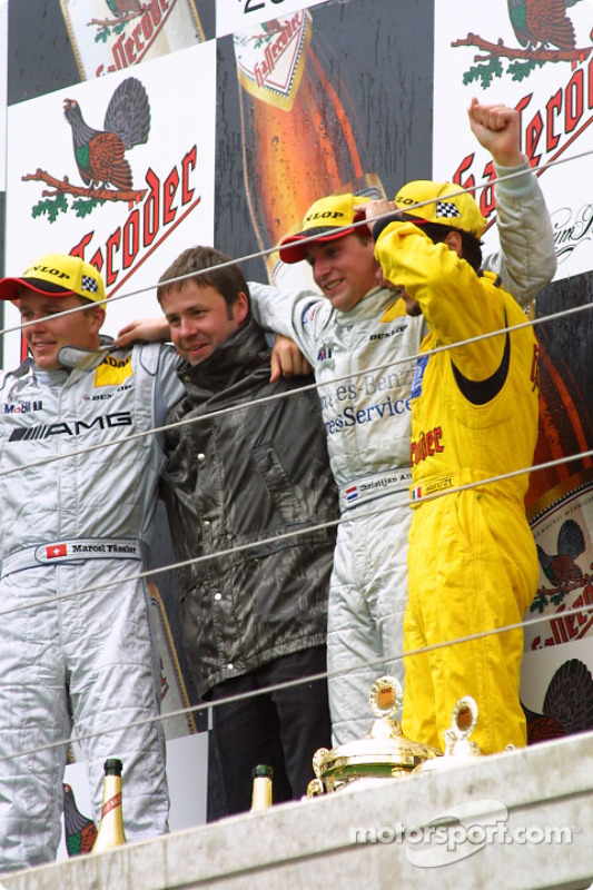 The podium: race winner Christijan Albers with Marcel Fassler, Laurent Aiello and chief designer Ger