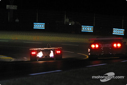 #15 Racing for Holland Dome S101 Judd: Jan Lammers, Andy Wallace, John Bosch, and #99 XL Racing Ferrari 550 Maranello: Ange Barde, Michel Ferte, Guillaume Lesoudier