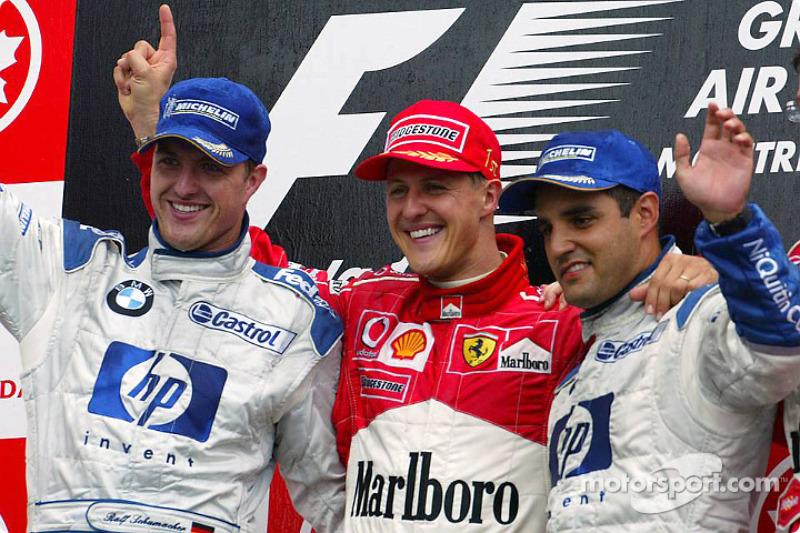 2003: 1. Михаэль Шумахер, 2. Ральф Шумахер, 3. Хуан-Пабло Монтойя
