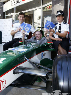 Mark Webber with local member of Parliament for Milton Keynes, MP Graham Mabbutt and a local WPC pro