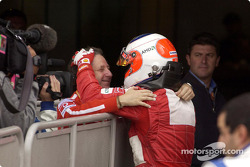 Rubens Barrichello and Jean Todt on the starting grid