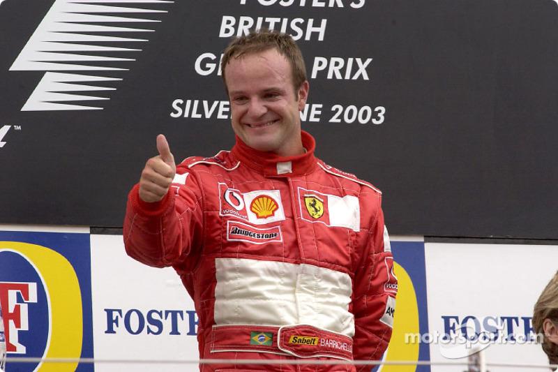 Em 2003, Barrichello venceu na Inglaterra, prova marcada por nova invasão de pista