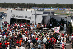 Fans at Mercedes paddock area