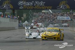 #61 P.K. Sport Porsche 911 GT3 RS: Vic Rice, John Graham, and #1 Infineon Team Joest Audi R8: Frank