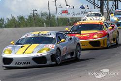 #63 ACEMCO Motorsports Ferrari 360 Modena: Shane Lewis, Terry Borcheller, and #28 JMB Racing USA / Team Ferrari Ferrari 360 Modena: Stephan Gregoire, Eliseo Salazar