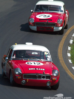 A pair of 1964 MGBs, #612 owned by John Targett leads #79 owned by Michael Kusch