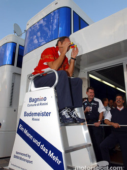 BMW Motorsport Director Gerhard Berger retirement party: Gerhard Berger, lifeguard?