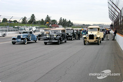 Vintage cars ready for drivers parade