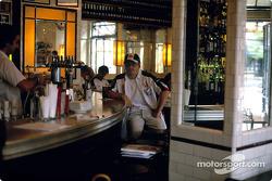 Jacques Villeneuve in a café