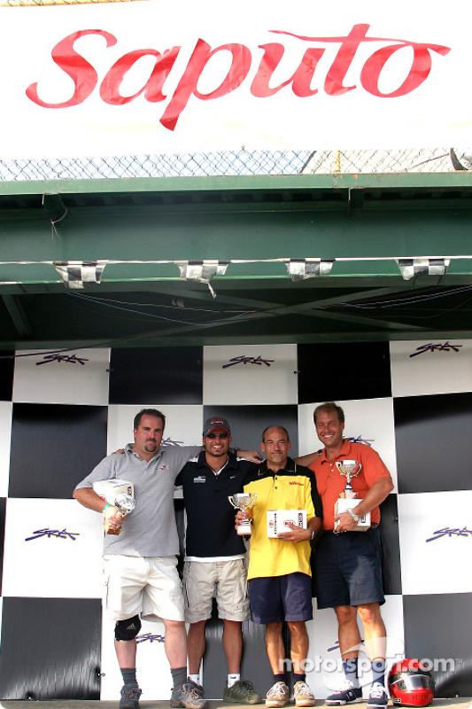 Course de karting Rocketsports-Tagliani : podium des médias, Alex Tagliani et Eric Gilbert de Motorsport.com