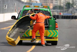 Safety crew clean up the track