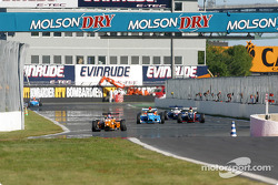 Race action on pit straight