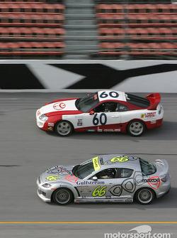 #66 SpeedSource Mazda RX-8: Marcelo Abello, Benoit Theetge, Justin Bell, and #60 J Pauley Motorsports Toyota Supra: Ron Pawley, Brian Peele