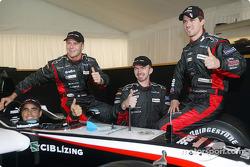 Zsolt Baumgartner, Gianmaria Bruni, Bas Leinders and Tiago Monteiro with the new Minardi PS04B
