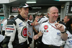 Jenson Button celebrates with David Richards