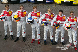 The Audi works drivers with their cars: Emanuele Pirro, Frank Biela, Martin Tomczyk, Mattias Ekström, Christian Abt and Tom Kristensen