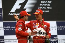 Podium: race winner Michael Schumacher and Rubens Barrichello celebrate