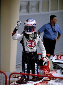 Jenson Button celebrates podium finish