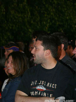 Tony Stewart watches in Victory Lane