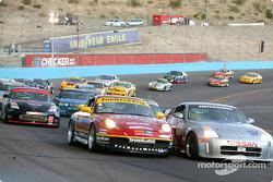 Start: #44 The Race Site.com Porsche 996: Craig Stanton, Terry Borcheller, and #33 Unitech Racing Nissan 350Z: Mike Cronin, Stu Hayner