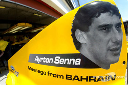 Tribute to Ayrton Senna on the Jordan engine cover