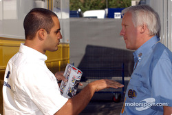 Juan Pablo Montoya and FIA Race director Charlie Whiting