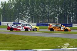 Matt Neal, James Thompson and Jason Plato battle for the lead