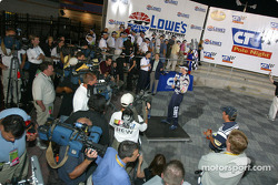 Pole winner Jimmie Johnson meets the media