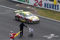 #90 White Lightning Racing Porsche 911 GT3 RSR takes the checkered flag