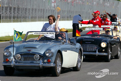 Drivers parade: Cristiano da Matta and Michael Schumacher