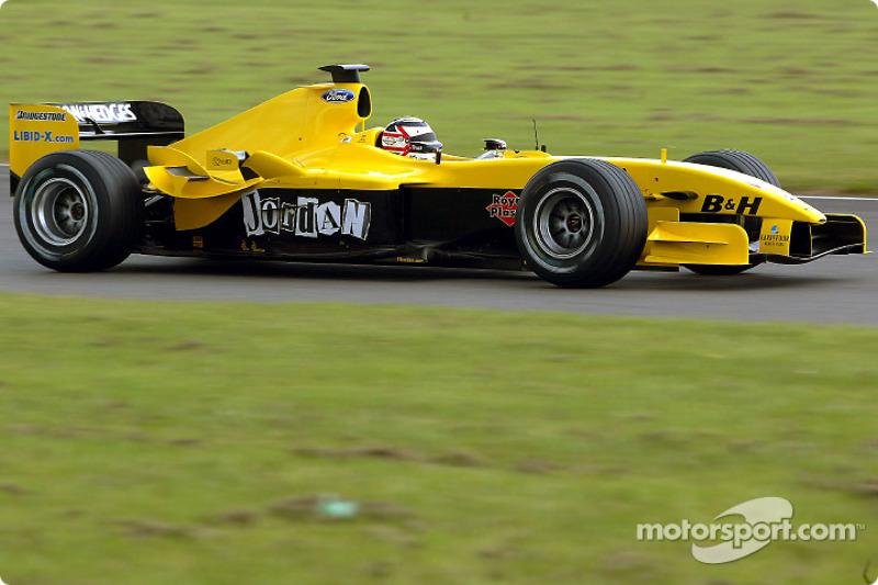 Nigel Mansell mengetes Jordan EJ14