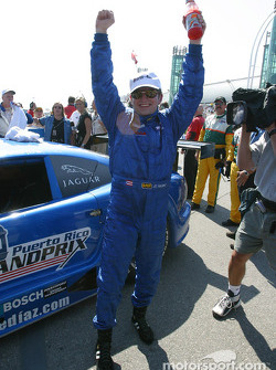 Race winner Jorge Diaz Jr. celebrates