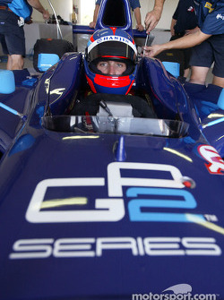 Franck Montagny about to test the new Dallara-Renault GP2 Series car