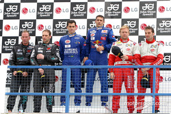 GT podium: race winners Jaime Melo and Karl Wendlinger, with Uwe Alzen and Michael Bartels, and Fabio Babini and Philipp Peter