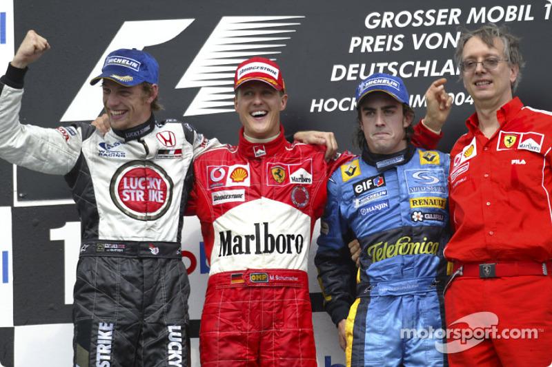 2004: 1. Михаэль Шумахер, 2. Дженсон Баттон, 3. Фернандо Алонсо