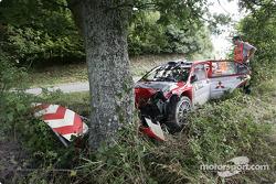 Wrecked Mitsubishi of Daniel Sola after his crash