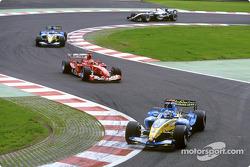 Pace lap: Jarno Trulli leads Michael Schumacher